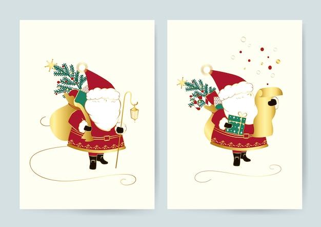 Santa with a bag of presents card vector