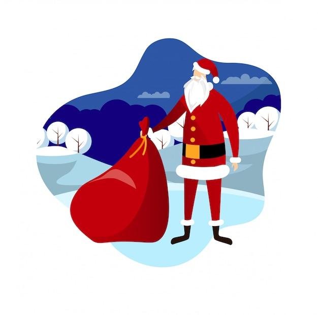 Santa with bag on winter landscape background.