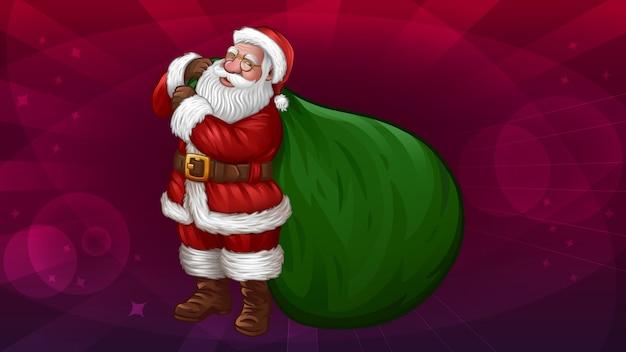 Санта с большой зеленой сумкой, изолированной на абстрактном красном