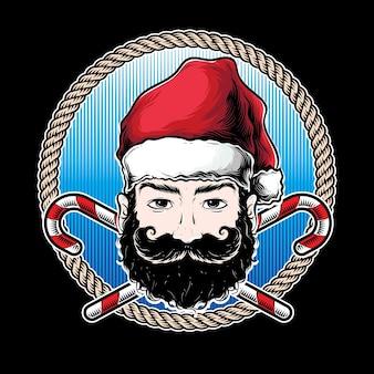 黒ひげのロゴのサンタ