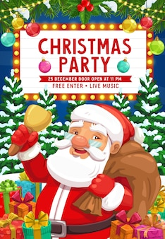 Santa with christmas bell and gift bag invitation of xmas party