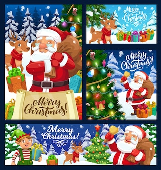 Santa with christmas gift bag, xmas tree and bell design. winter holiday banners with claus, elf and reindeer, present boxes, ribbon bow and star, snow, pine and balls, candies, lights and sock