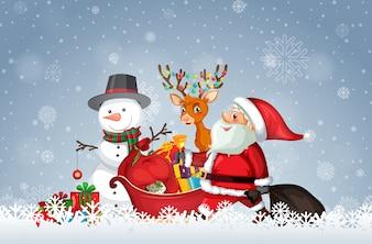 クリスマスのテンプレートを持つサンタ