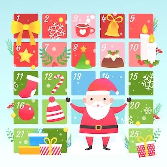 フラットアドベントカレンダーとサンタ