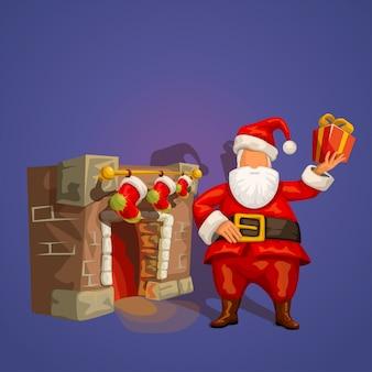 Санта с настоящим возле камина