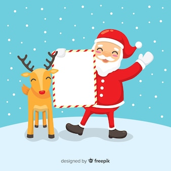 Santa with reindeer holding blank sign