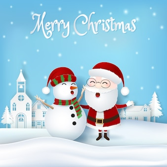 Santa with snowman and city christmas background