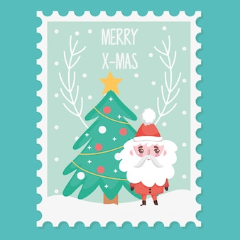 Santa with tree merry christmas stamp