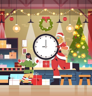 Santa woman holding clock girl elf putting gifts on conveyor new year christmas holidays celebration concept workshop interior full length vector illustration