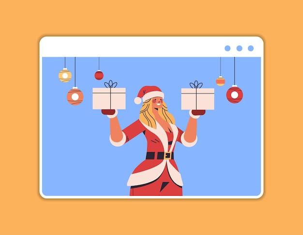 楽しい新年とメリークリスマスの休日のお祝いのコンセプトウェブブラウザウィンドウの水平方向の肖像画のベクトル図を楽しんでいるギフトボックスの女の子を保持しているサンタの女性