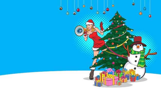 Santa woman holding megaphone snowman gift boxes merry christmas happy new year pop art comics style