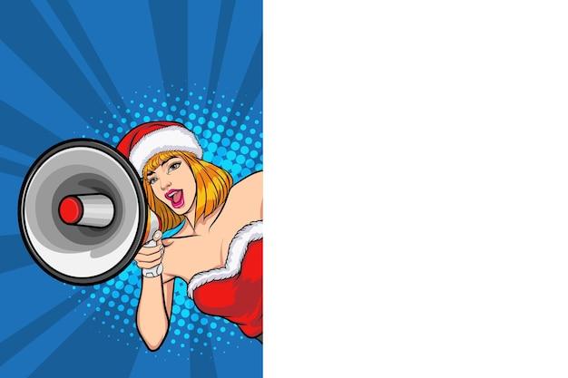 Санта женщина выглядывает из-за пустой таблички с мегафоном в стиле поп-арт в стиле комиксов