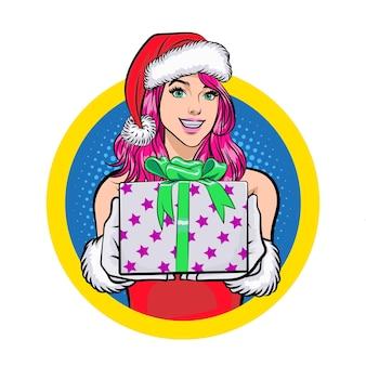 Санта женщина улыбается и дает коробку на круг, войдите в ретро винтаж поп-арт стиле комиксов
