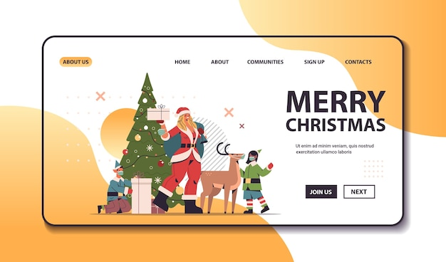 Santa woman standing with deer and mix race elves in masks new year merry christmas holiday celebration concept full length horizontal copy space vector illustration