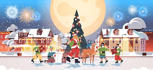 Santa woman standing with deer and mix race elves in masks new year merry christmas holiday celebration greeting card fireworks in night sky cityscape background full length horizontal vector illustra