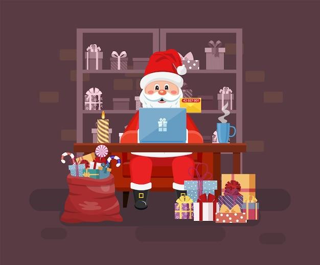 노트북이 있는 산타 작업 공간