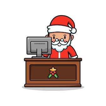 サンタは自分のコンピューターで作業します
