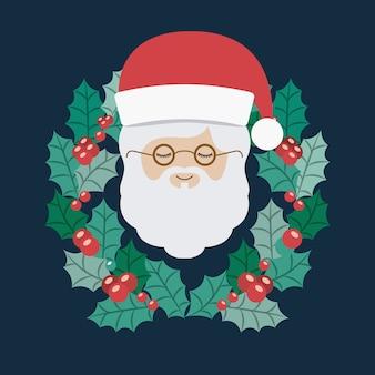 Santa and wreath icon