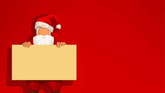 Santa and yellow board