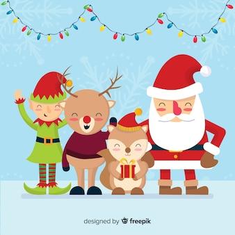 クリスマスの背景santaのお友達