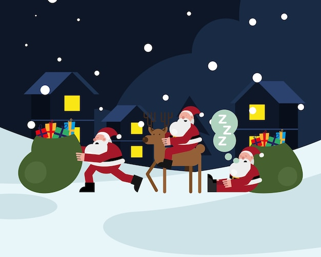 Santas claus with reindeer and gifts bag christmas characters vector illustration design