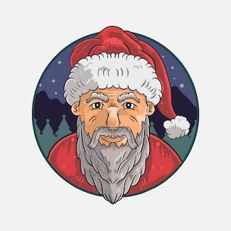 Santas head wearing christmas costume illustration