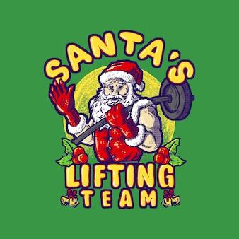 サンタスリフティングチームtシャツデザインホールディングバーベル