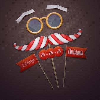 Santas mustache and glasses vector illustration.
