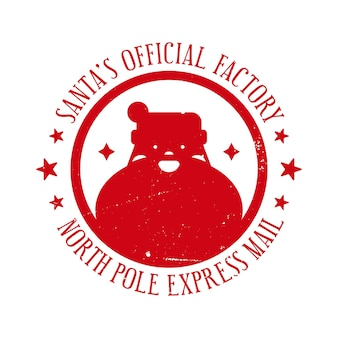 Santas official factory north pole express mail  holiday stamp template for handmade gifts