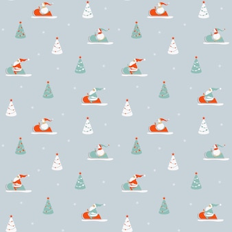 Santas and snowmen in a snowmobile among the christmas trees. seamless winter pattern.
