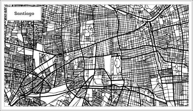 흑백 색상의 산티아고 칠레 도시 지도. 개요 지도. 벡터 일러스트 레이 션.
