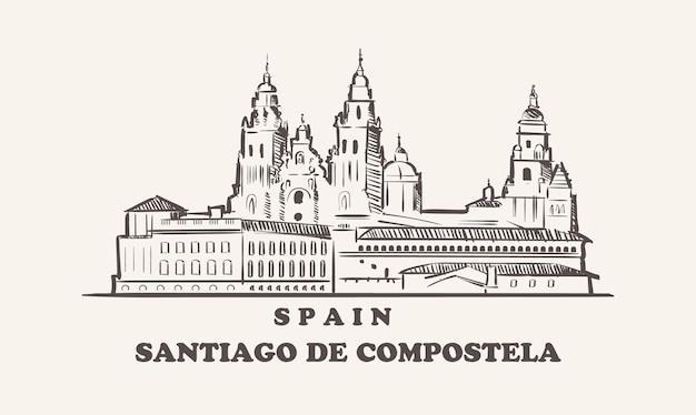 산티아고 데 콤포 스텔라 도시 풍경 스케치 손으로 그린 스페인 그림