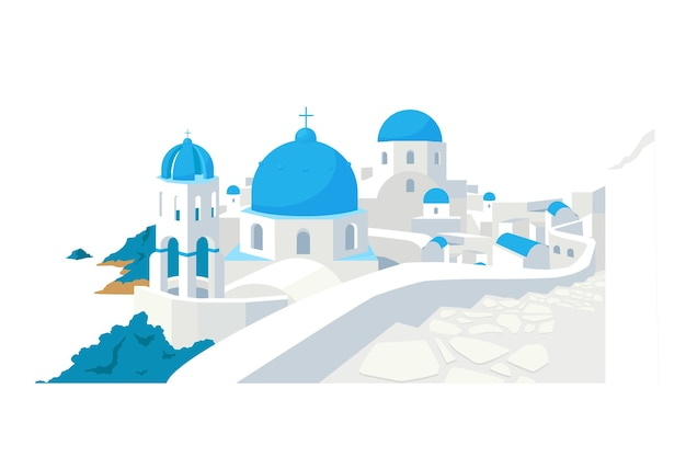 Santorini buildings flat color object