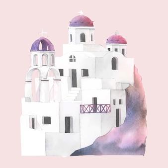 サントリーニキクラデスの住宅水彩画