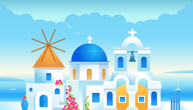 Santorini greece greek architecture buildings traditional greek white houses with blue roofs