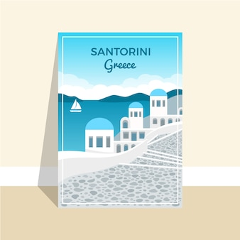 Santorini greece vacation poster template