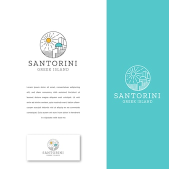 Santorini greek island logo icon design template