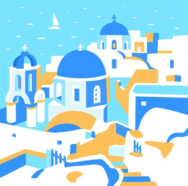 Остров санторини греция красивая традиционная белая архитектура греции
