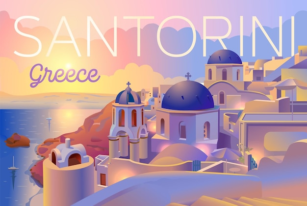 산토리니 섬, 그리스, 저녁보기, 일몰. 아름다운 전통적인 흰색 건축과 푸른 돔이있는 그리스 정교회.