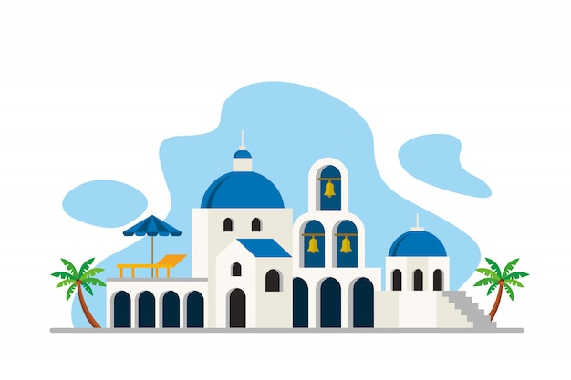 Santorini sea island landmarks background
