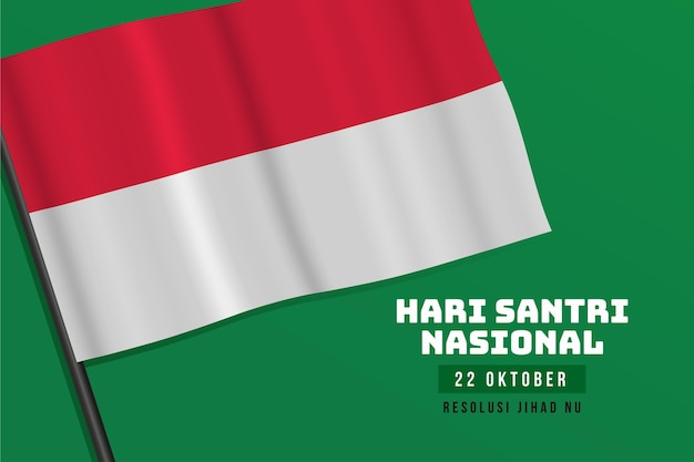Santri realistic background with flag