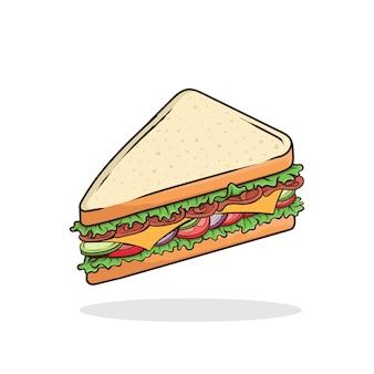 샌드위치 벡터 고립 된 패스트 푸드