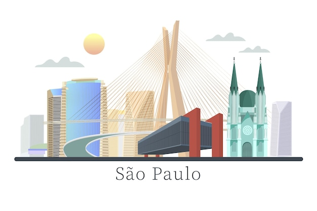 Città futuristica del punto di riferimento di sao paulo Vettore gratuito