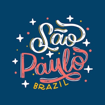Sao paulo lettering brazil with stars