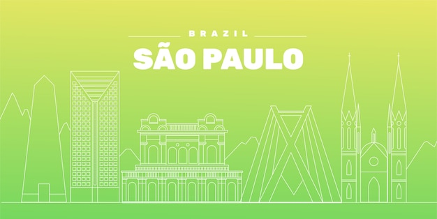 Sao paulo skyline gradient green