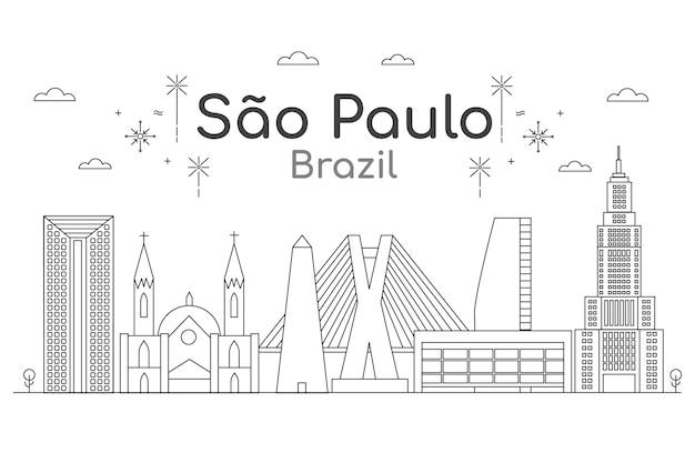 Сан-паулу - линия горизонта в черно-белом