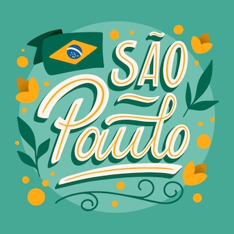 Sao paulo with flag and flowers lettering