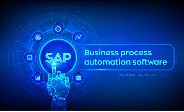 Sap business process automation software. robotic hand touching digital interface.