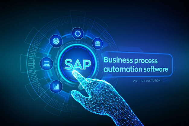 Sap. business process automation software. wireframed robotic hand touching digital graph interface.