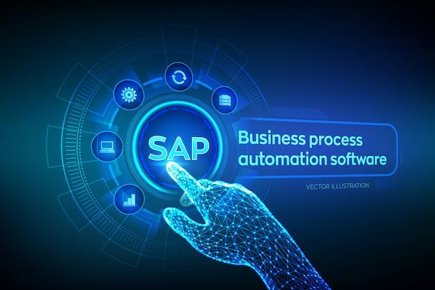 Sap. программное обеспечение для автоматизации бизнес-процессов. каркасная роботизированная рука, касающаяся цифрового графического интерфейса.